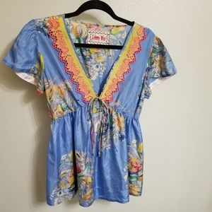 Johnny Was baby doll blouse size S